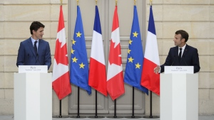 Prime Minister Justin Trudeau takes part in a joint media availability with French President Emmanuel Macron at the Elysee Palace in Paris on June 7, 2019.  THE CANADIAN PRESS/Sean Kilpatrick
