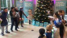 Patients throw snowballs at doctors at BC Children's Hospital on Tuesday, Nov. 18, 2019.