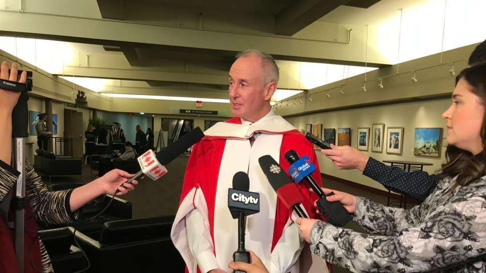 Sports broadcaster Ron MacLean is presented with an honorary degree of law at the University of Alberta in Edmonton Tuesday, Nov. 19, 2019. (CTV News Edmonton)