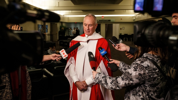 Sports broadcaster and Coach's Corner co-host Ron MacLean takes questions before receiving an honorary doctor of laws degree at the University of Alberta, in Edmonton on Tuesday, November 19, 2019. THE CANADIAN PRESS/Jason Franson