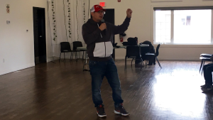 Former NHL player Theoren Fleury speaks to youth on the Pasqua First Nation on Nov. 19, 2019. (Creeson Agecoutay/CTV News Regina)