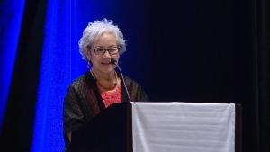 Regina Elder Sharon Agecoutay speaks to the Saskatchewan School Boards Association's fall general assembly on Nov. 19, 2019. (Cally Stephanow/CTV News Regina)