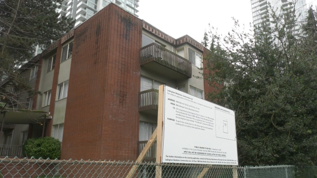 One of the four Burnaby, B.C. residential apartments under rezoning applications is seen on Tuesday, Nov. 19, 2019.