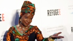 """In this Thursday, April 21, 2016 file photo, singer and UNICEF Goodwill Ambassador Angelique Kidjo poses at the opening of the new photography exhibit """"REFUGEE"""" at The Annenberg Space for Photography, in Los Angeles. One of Africa's iconic artists, Kiddo, is the voice of a new project aimed at rewriting laws across the African continent that keep millions of women from becoming a more powerful economic force. (Photo by Chris Pizzello/Invision/AP, File)"""