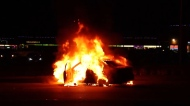 A car burst into flames on Nordel Way in Delta Tuesday night.
