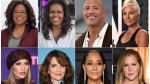 "This combination photo shows, top row from left, Oprah Winfrey, former first lady Michelle Obama, Dwayne Johnson, Lady Gaga, bottom row from left, Jennifer Lopez, Tina Fey, Tracee Ellis Ross and Amy Schumer. Live Nation announced Wednesday, Nov. 20, 2019, that Winfrey's wellness arena tour with WW, dubbed ""Oprah's 2020 Vision: Your Life in Focus,"" will also include guest appearances by Obama, Johnson, Lady Gaga, Lopez, Fey, Ellis Ross and Schumer. The nine-city tour will begin on January 4, 2020, in Fort Lauderdale, Fla. (AP Photo)"