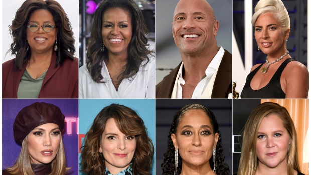 """This combination photo shows, top row from left, Oprah Winfrey, former first lady Michelle Obama, Dwayne Johnson, Lady Gaga, bottom row from left, Jennifer Lopez, Tina Fey, Tracee Ellis Ross and Amy Schumer. Live Nation announced Wednesday, Nov. 20, 2019, that Winfrey's wellness arena tour with WW, dubbed """"Oprah's 2020 Vision: Your Life in Focus,"""" will also include guest appearances by Obama, Johnson, Lady Gaga, Lopez, Fey, Ellis Ross and Schumer. The nine-city tour will begin on January 4, 2020, in Fort Lauderdale, Fla. (AP Photo)"""