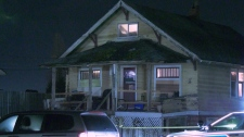 Homicide investigators were spotted outside of this Surrey home Tuesday night.