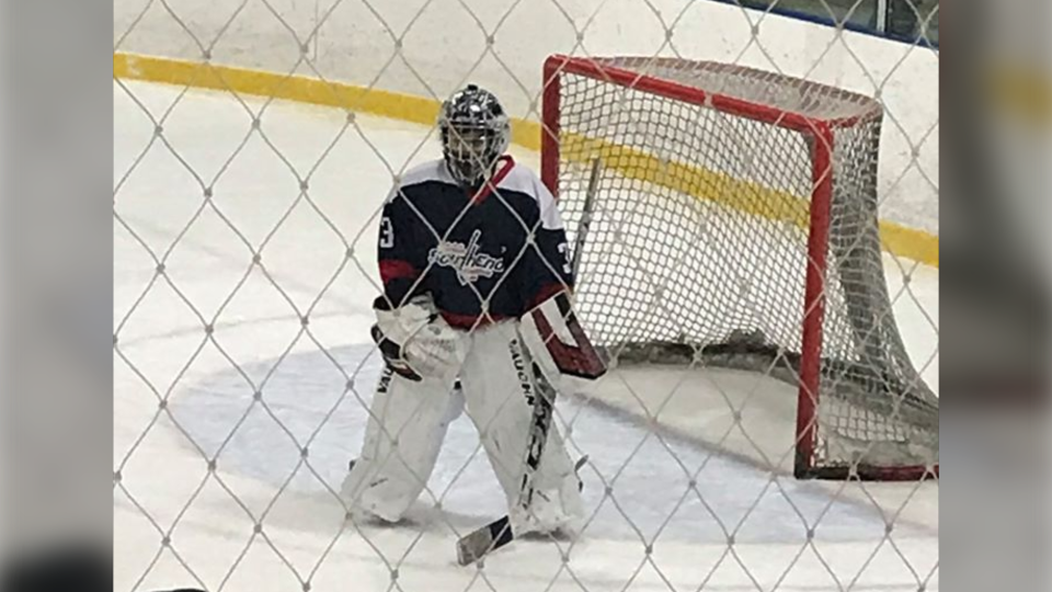 11-year-old Ayan Janmohamed, in net for the Ottawa Southend Snipers. (photo courtesy of Salima Ismail)