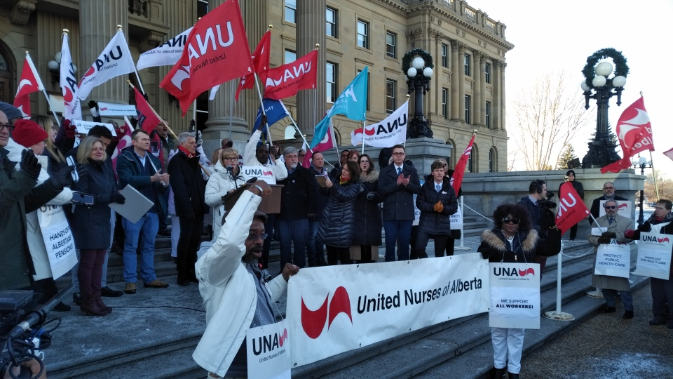 The United Nurses of Alberta held a rally at the Alberta legislature in Edmonton Nov. 20, 2019.