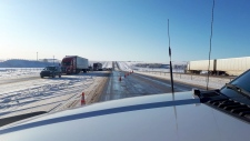 Northbound Highway 2 has been shut down at the Carstairs overpass due to a jackknifed semi. (Carstairs Fire Department)