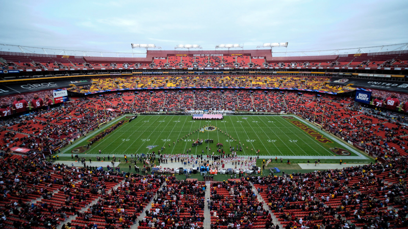 FedEx Field is seen in this general view during the National Anthem prior to an NFL football game between the New York Jets and Washington Redskins, in Landover, Md., Nov. 17, 2019. There were more than 20,000 empty seats for the Redskins' last home game, and when many of them have been filled this season, it's with fans of the visiting team. (AP / Mark Tenally)