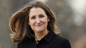 Liberal MP Chrystia Freeland arrives for the cabinet swearing-in ceremony in Ottawa on Wednesday, Nov. 20, 2019. THE CANADIAN PRESS/Adrian Wyld