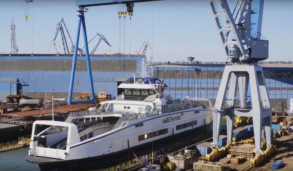 The two hybrid diesel-electric ferries began their 10,305 nautical mile journey from Romania to Victoria on Nov. 20, 2019: (BC Ferries/Youtube)