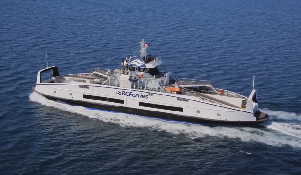 The hybrid ships are designed to reduce underwater noise and CO2 emissions. (BC Ferries/Youtube)