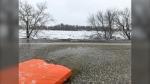 A torrent of water running through River Road in St. Andrews. (Source: Jon Hendricks/CTV News)