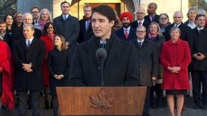 Prime Minister Trudeau speaks after swearing in his new cabinet.