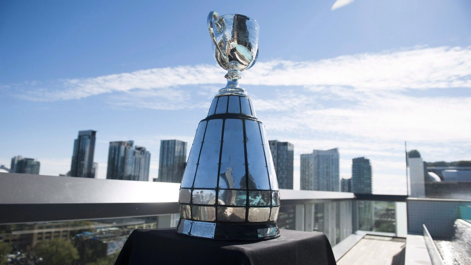 All that's certain Sunday is one team will end a lengthy Grey Cup drought. The Grey Cup is on display before a rooftop press conference held by the CFL, in Toronto, Thursday, Oct, 1, 2015. THE CANADIAN PRESS/Marta Iwanek