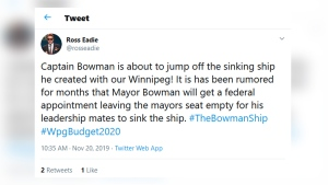 Brian Bowman said whoever is spreading the rumour referenced by Eadie is lying. (Source: Twitter/Ross Eadie.)