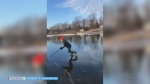 WATCH: Hosea Mamkwa captured his buddy, Donovan Rich, 'skating on a mirror' on Lake Nipissing in northern Ontario's Garden Village Sunday.