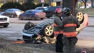 The SUV was travelling east on College Drive when it struck a car turning south off of College Drive onto Wiggins Avenue, police say. (CTV Saskatoon)