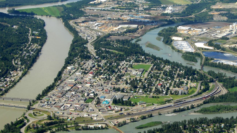 An aerial photo published by the B.C. government shows Quesnel.