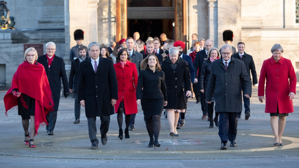 Members of the federal cabinet walk through the forecourt at Rideau Hall after a swearing in ceremony in Ottawa, on Wednesday, Nov. 20, 2019. (THE CANADIAN PRESS/Justin Tang)