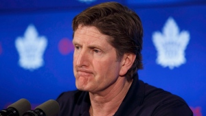 Toronto Maple Leafs head coach Mike Babcock speaks to reporters during an end of season press conference at the Air Canada Centre in Toronto on Friday, April 27, 2018. THE CANADIAN PRESS/Cole Burston