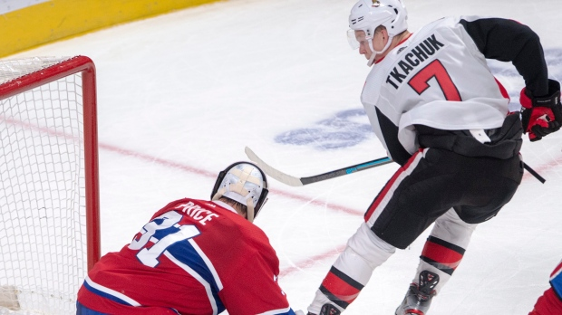 Ottawa Senators left wing Brady Tkachuk (7) scores the winning goal against Montreal Canadiens goaltender Carey Price (31) during overtime NHL hockey action in Montreal, Wednesday, Nov. 20, 2019. THE CANADIAN PRESS/Ryan Remiorz