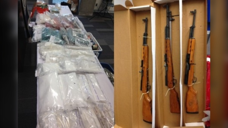 In February 2015, the CFSEU seized $2 million worth of drugs, including nearly 15 kilograms of fentanyl pills and powder, as well as eight firearms, prohibited magazines, silencers and more than $200,000 in cash. (CFSEU-BC)
