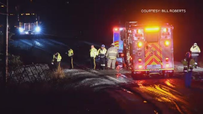 Emergency crews respond to a fatal collision in Kings County, N.S., on Nov. 20, 2019. (Submitted: Bill Roberts)
