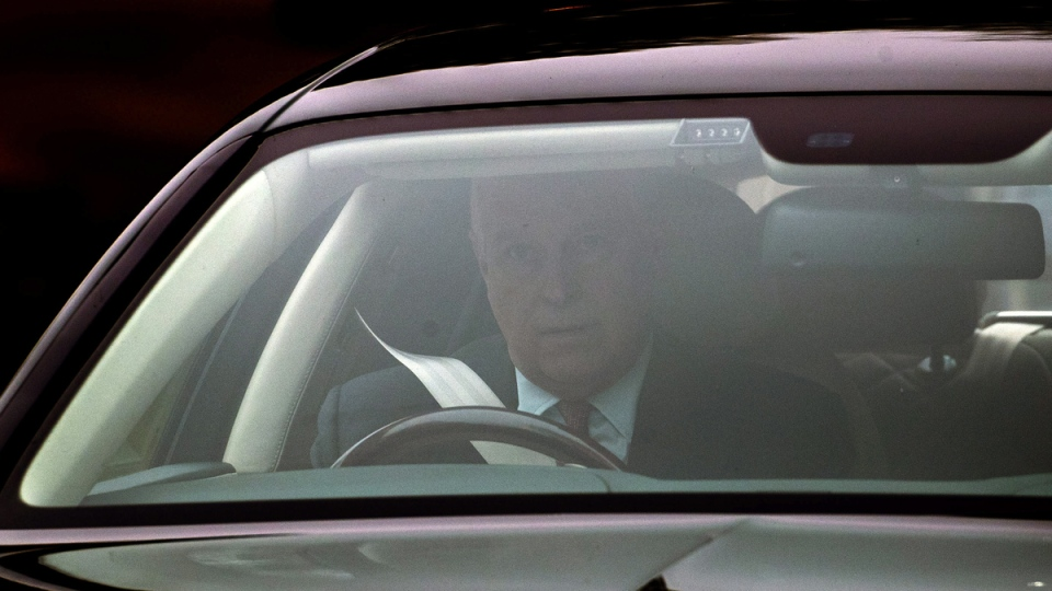Prince Andrew leaves his home in Windsor