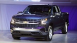In this Jan. 13, 2018, file photo, the 2019 Chevrolet Silverado High Country pickup is unveiled in Detroit. Certain 2019 and 2020 Chevrolet Silverados are now being recalled due to a high-tech seat belt that can set the carpeting on fire. (AP Photo/Carlos Osorio, File)