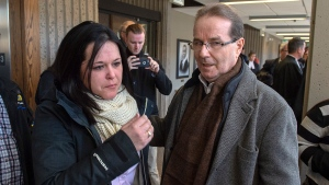 Glen Assoun stands with his daughter Amanda Huckle at Nova Scotia Supreme Court in Halifax on Friday, March 1, 2019.  (THE CANADIAN PRESS/Andrew Vaughan)