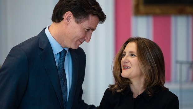 Prime Minister Justin Trudeau and Chrystia Freeland as she becomes Deputy Prime Minister and Minister of Intergovernmental Affairs during the swearing in of the new cabinet at Rideau Hall in Ottawa on Wednesday, Nov. 20, 2019. THE CANADIAN PRESS/Sean Kilpatrick