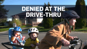 Family on e-bike denied service at drive-thru