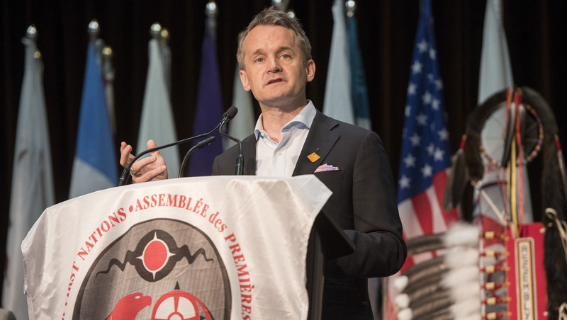 Seamus O'Regan delivers remarks at the Assembly of First Nations' Annual General Assembly in Fredericton, N.B., on July 24, 2019. (THE CANADIAN PRESS/Stephen MacGillivray)