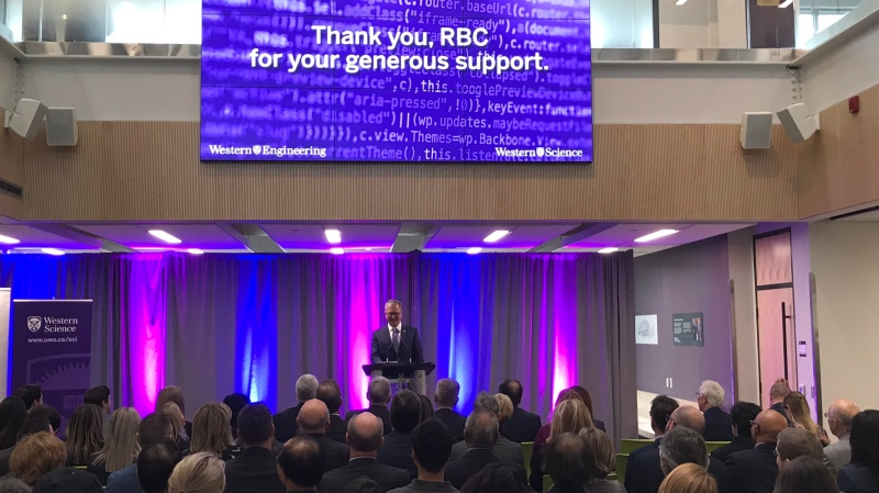 Alan Shepard, president of Western University, speaks in London, Ont. on Thursday, Nov. 21, 2019. (Sean Irvine / CTV London)