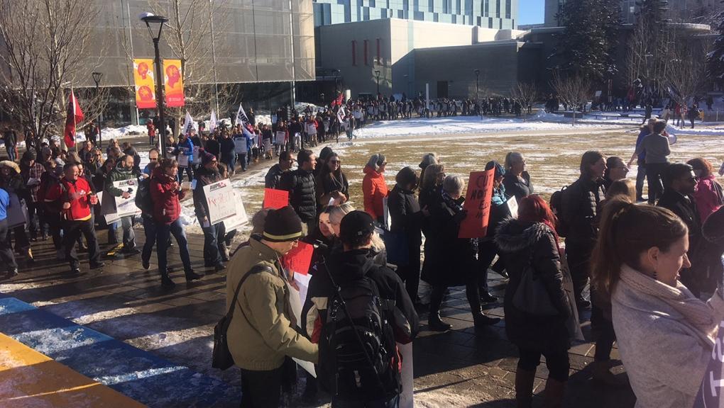 University of Calgary, rally, protest, job cuts