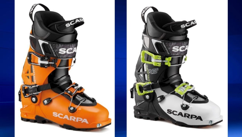 Two different models of SCARPA Maestrale ski boots, pictured here, have been recalled by Health Canada. (Supplied)
