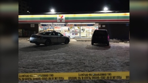 There is a heavy police presence at a 7/11 on Arlington Street and Ellice Avenue. (Source: Josh Crabb/ CTV News Winnipeg)