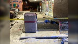 A blood stain on the sidewalk in front of the 7-Eleven on the corner of Ellice Avenue and Arlington Street, in Winnipeg on Nov. 21, 2019. (Source: Jeremie Charron/CTV News Winnipeg)
