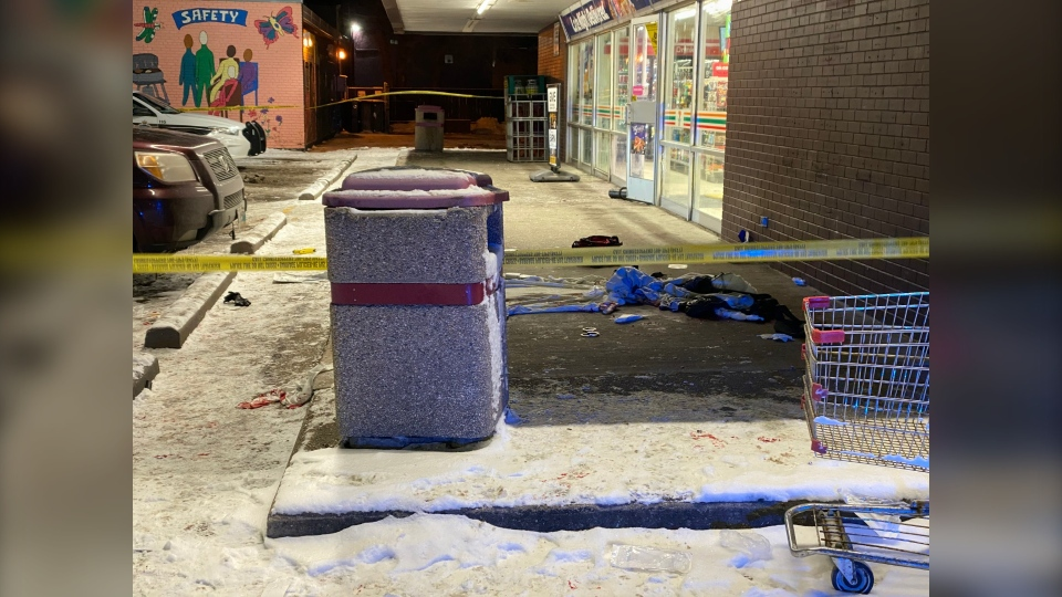 A blood stain on the sidewalk in front of the 7-Eleven on the corner of Ellice Avenue and Arlington Street, in Winnipeg on Nov. 21, 2019. (Source: Jeremie Charron/CTV News Winnipeg)