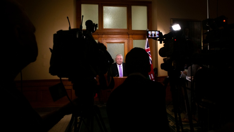 Ontario Premier Doug Ford speaks to the media outside of his office in the Ontario Legislature in Toronto on Thursday November 21, 2019. THE CANADIAN PRESS/Chris Young