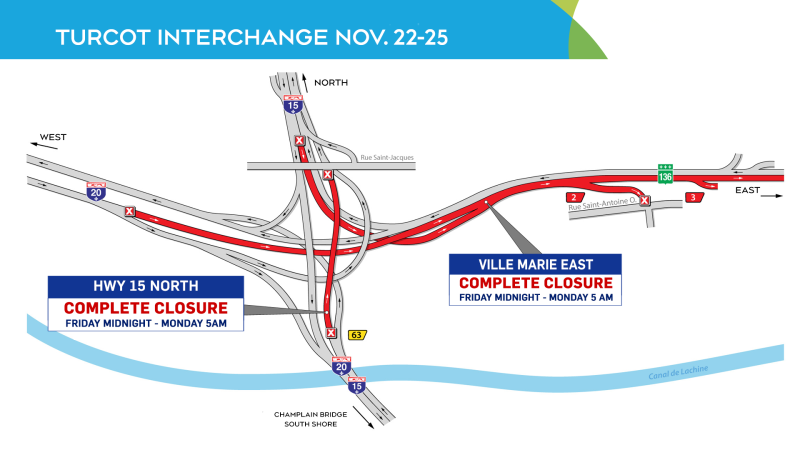 Turcot closures, weekend of Nov. 22