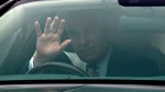 Britain's Prince Andrew leaves his home in Windsor, England, Thursday, Nov. 21, 2019. (Steve Parsons/PA via AP)