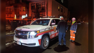 Ottawa Fire crews respond to a carbon monoxide leak at a building on St. Denis St. in Vanier, Nov. 22, 2019. (Photo: Scott Stilborn /  @OFSFirePhoto / Twitter)