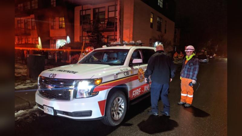 Ottawa Fire crews respond to a carbon monoxide leak at a building on St. Denis St. in Vanier, Nov. 22, 2019. (Photo: Scott Stilborn /  @OFSFirePhoto / Twitter)