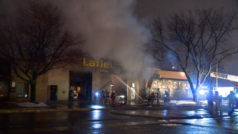Montreal firefighters are battling a blaze at a commercial lot in Pointe-aux-Trembles.