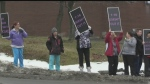 WATCH: Unionized workers at Sudbury's Extendicare York are protesting the lack of time they get to spend caring for residents.